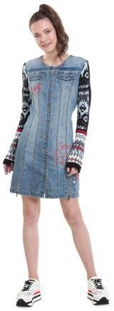 Desigual Dámské šaty Vest Nancy Denim Light Wash 18WWVD01 5007 38