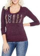 Guess Dámský svetr Laine Logo Pullover Sweater Wine S