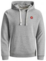 Jack&Jones Pánská mikina Culkin Sweat Hood Light Grey Melange Reg XL