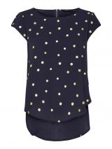 ONLY Dámská halenka Vic SS Aop Top Noos Wvn Night Sky Gold Dots 36