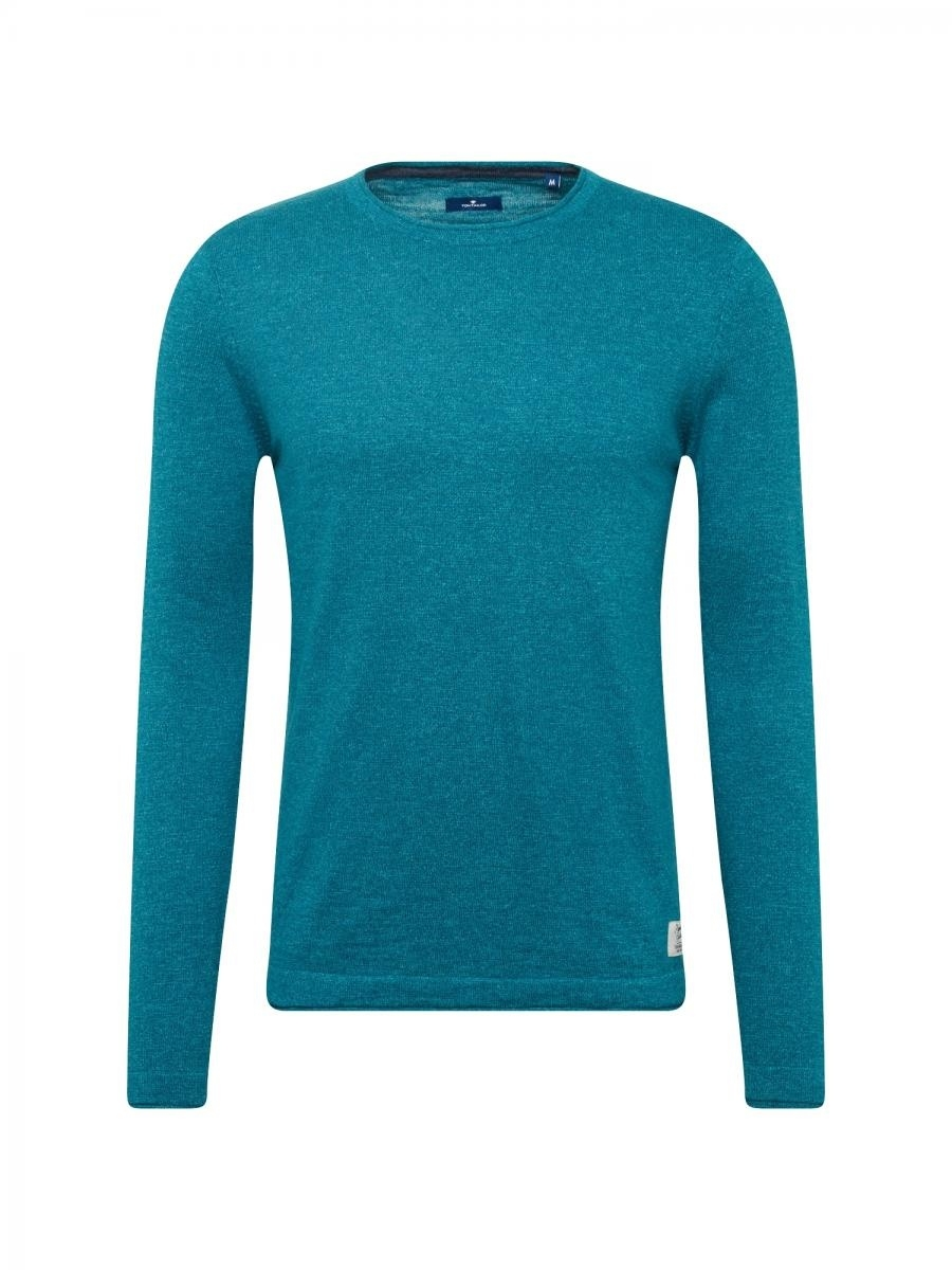 TOM TAILOR Svetr structured crew-neck sweater petrolejová, vel.L