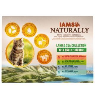 12 x 85g IAMS Naturally Cat Adult Mix   700g granule zdarma! - 12 x 85g