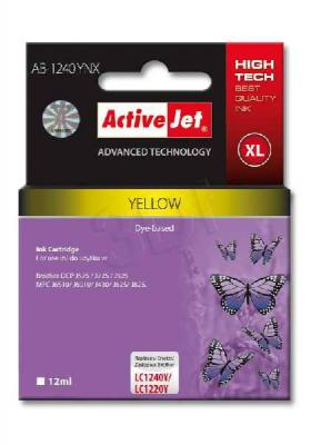 ActiveJet ink cartr. Brother LC-1240Y - 12 ml - 100% NEW AB-1240YNX, EXPACJABR0032