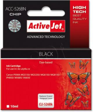 ActiveJet ink cartr. Canon CLI-526Bk - 10 ml - 100% NEW (WITH CHIP)     ACC-526Bk, EXPACJACA0105