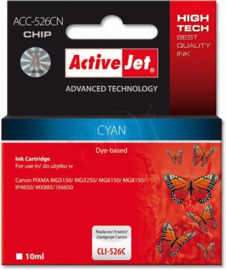 ActiveJet ink cartr. Canon CLI-526C - 10 ml - 100% NEW (WITH CHIP)     ACC-526C, EXPACJACA0106