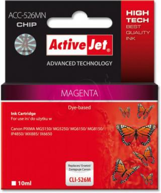 ActiveJet ink cartr. Canon CLI-526M - 10 ml - 100% NEW (WITH CHIP)     ACC-526M, EXPACJACA0107