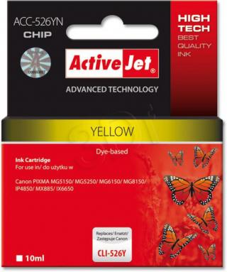 ActiveJet ink cartr. Canon CLI-526Y - 10 ml - 100% NEW (WITH CHIP)     ACC-526Y, EXPACJACA0108