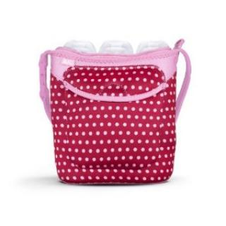 Built Three Baby Bottle Tote Baby Pink Mini Dots Pink Mini Dots