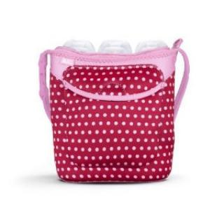 Built Three Baby Bottle Tote Pink Mini Dots