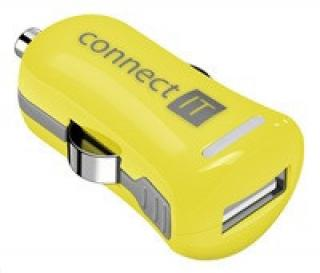 CONNECT IT InCarz COLORZ nabíječka do auta 1xUSB 2,1A, žlutá (V2)