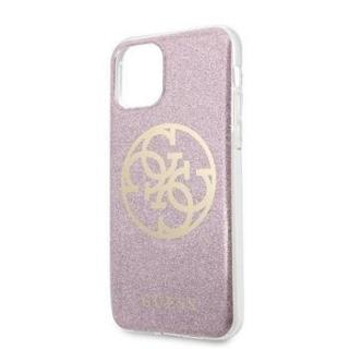 GUHCN65PCUGLP Guess 4G Glitter Circle Zadní Kryt pro iPhone 11 Pro Max Gold Pink