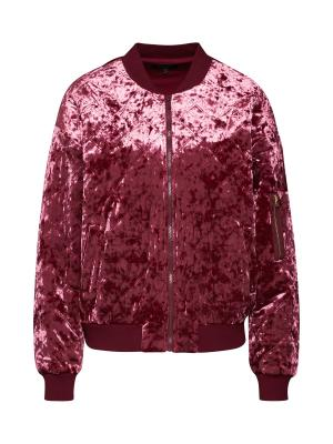 Juicy Couture Black Label Přechodná bunda Crushed Velour Quilted Bomber Jacket vínově červená, vel.S
