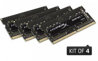 Kingston DDR4 32GB (Kit 4x8GB) HyperX Impact SODIMM 2400MHz CL15 černá, HX424S15IB2K4/32