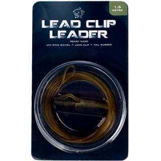 Nash Lead Clip Leader - Uni Ring Swivel, Leadclip & Tail Rubber 1,5m