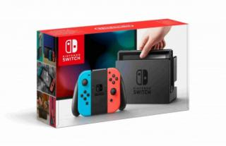 Nintendo Switch console with neon red&blue Joy-Con