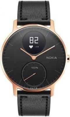 Nokia Steel HR (36mm) Rose Gold w/ Black Leather   Black Silicone wristband