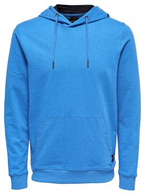 ONLY&SONS Pánská mikina Basic Sweat Hoodie Unbrushed Noos Imperial Blue L