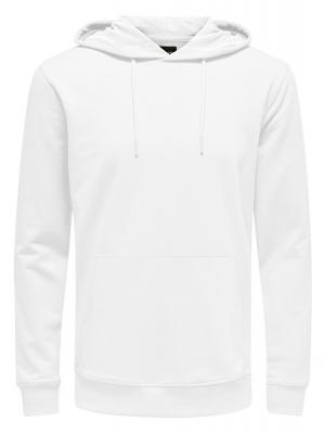 ONLY&SONS Pánská mikina Basic Sweat Hoodie Unbrushed Noos White M