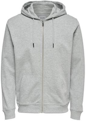 ONLY&SONS Pánská mikina Basic Sweat Zip Hoodie Brushed Noos Light Grey Melange L