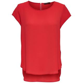 ONLY Dámská halenka Vic S/S Solid Top Noos Wvn High Risk Red 36