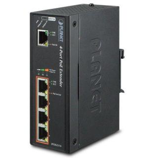 Planet IPOE-E174 POE EXTENDER SWITCH IEEE802.3AT, 4 1X 1000BASE-T, DIN, IP30, EFT ESD, -40~75°C, 60W, IPOE-E174