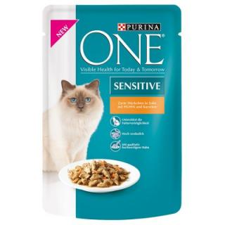 Purina One Adult 12 x 85 g - Sterilised s krůtím a zelenými fazolkami