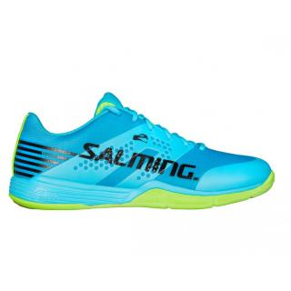 SALMING Viper 5 Men Shoe White/Black, 42 2/3 10,5 UK / Blue Atol/New Fluo Green