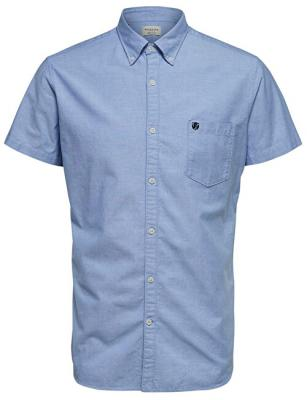 SELECTED HOMME Pánská košile Regcollet Shirt Ss W Noos Light Blue M