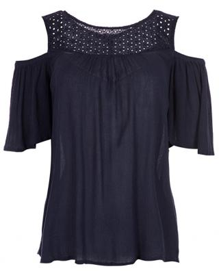 Vero Moda Dámská halenka Mia Cold Shoulder Top Night Sky XS