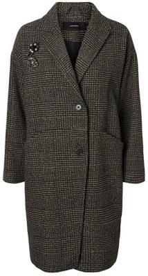Vero Moda Dámský kabát North 3/4 Jacket Peat Black Check W.Two Trims S