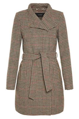 Vero Moda Dámský kabát Two Dope Check 3/4 Wool Jacket Tobacco Brown Black With Winetasting XS