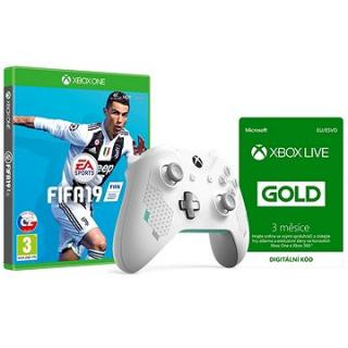 Xbox One Wireless Controller Sport White   FIFA 19   Xbox Live 3 Month Gold