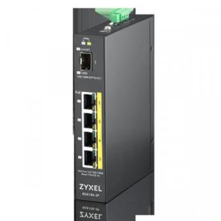 Zyxel RGS100-5P, 5-port Gigabit switch: 4x GbE   1x SFP, PoE (802.3at, 30W), Power budget 120W, DIN rail/Wall mount, IP3, RGS100-5P-ZZ0101F